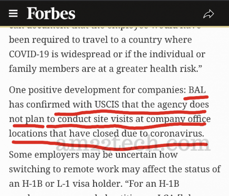 USCIS will not do any H1b site visits at closed offices