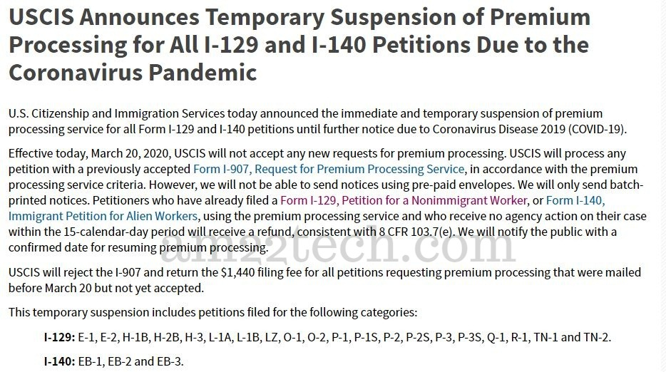 USCIS premium processing-suspended for all h1b, i140 applications