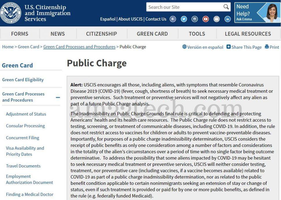 USCIS public charge Coronavirus notice