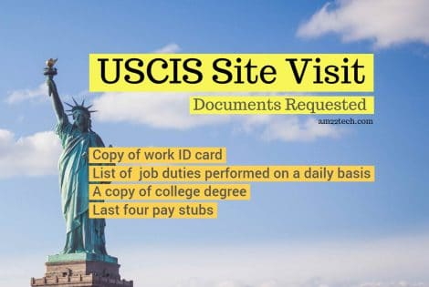 USCIS site visit documents requested