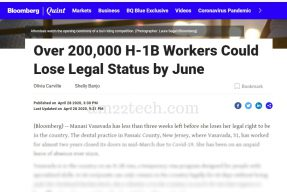 BloombergQuint says 200K H1b workers to lose status by June