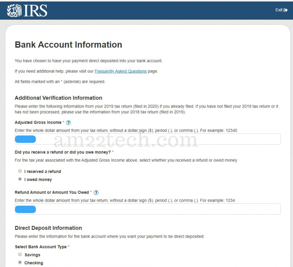 IRS will ask for identity verification and bank account information if you are eligible