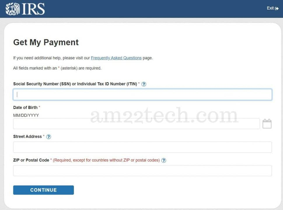 IRS get my payment - enter SSN information