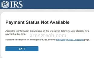 IRS stimulus payment status not available