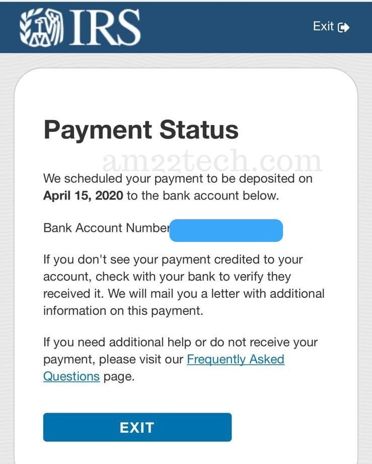 IRS Stimulus payment credited in Bank Account message