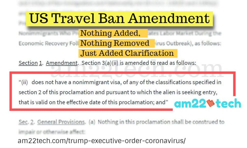 Trump proclamation amendment - nothing added