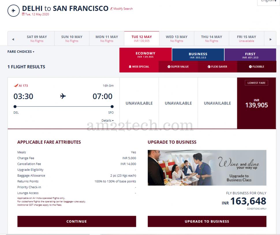 Delhi SFO Air India covid flight price