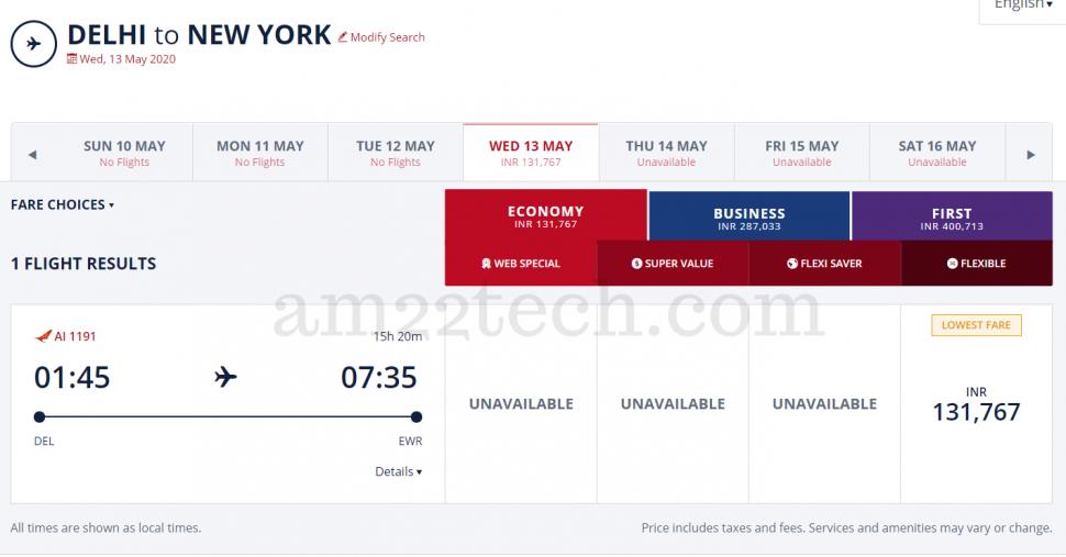 Delhi to new-york COVID-19 flight