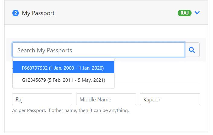EAD application - Enter passport information