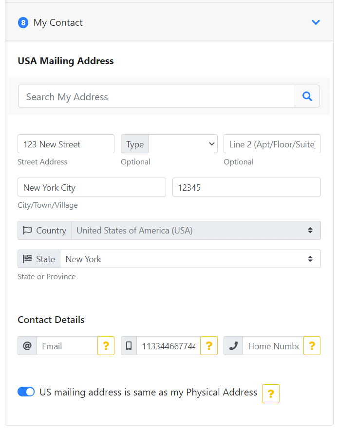 Mail address for EAD application form
