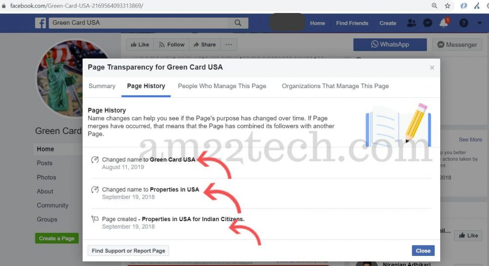 FB page - green-card-USA - page history