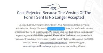 H4 EAD denied due to wrong i-765 form version
