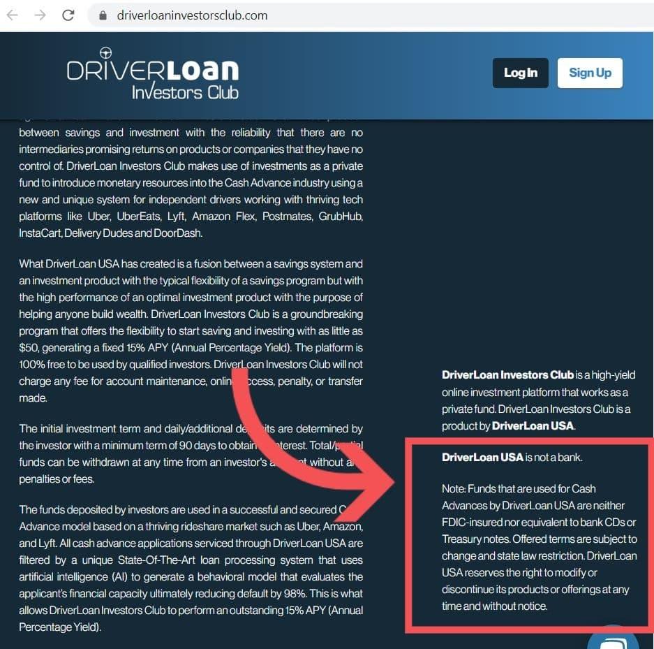 Driver loan not FDIC insured
