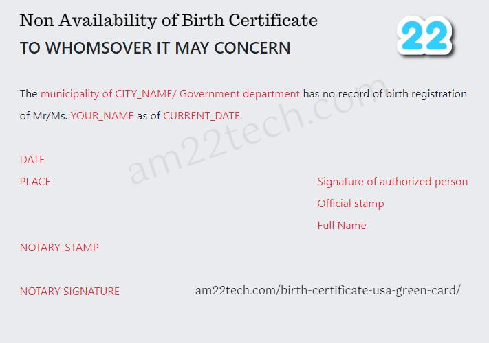 Birth Certificate NABC Sample