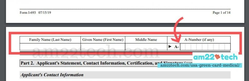 Name and A number is required on all pages of form i-693