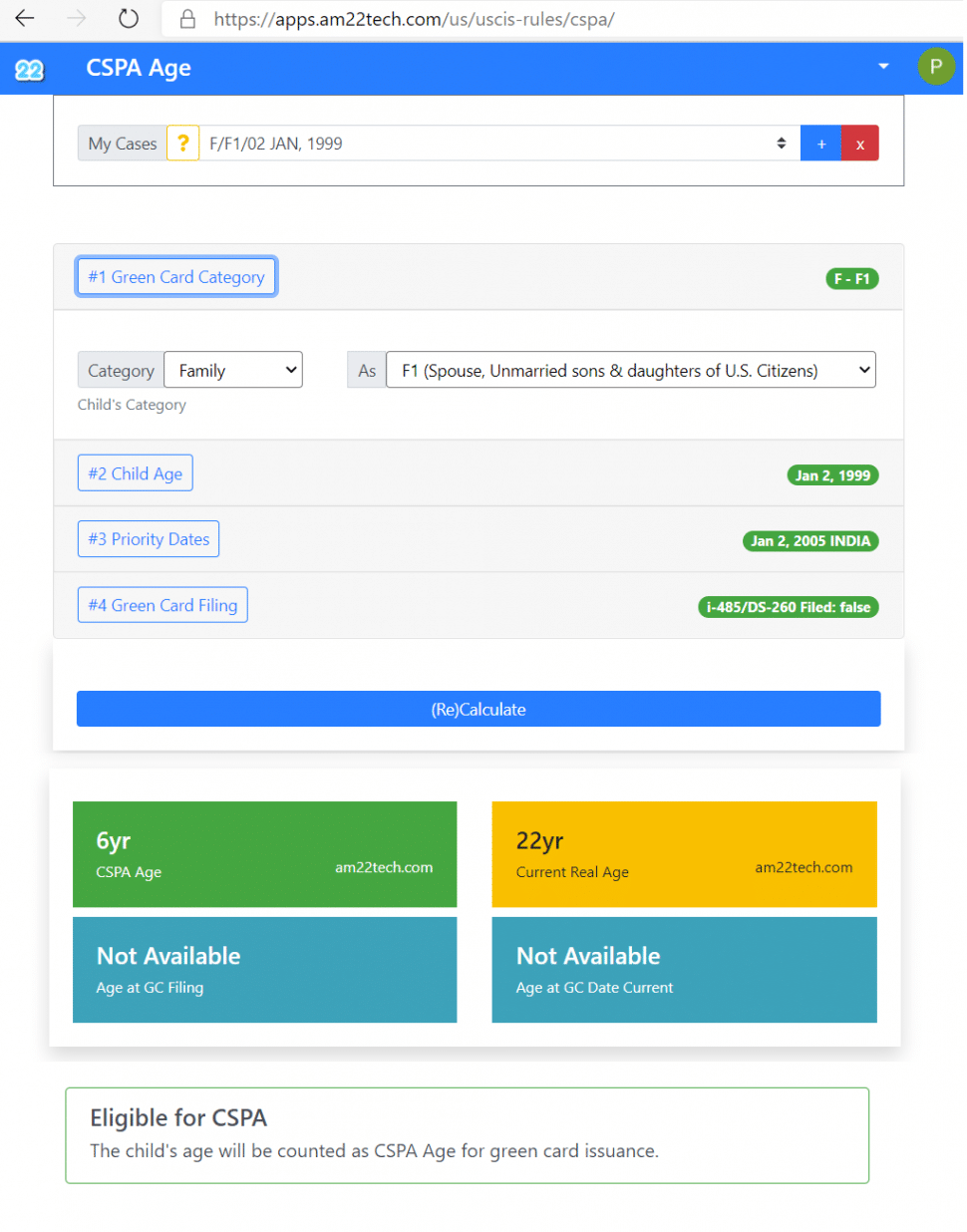 CSPA age calculator family green card