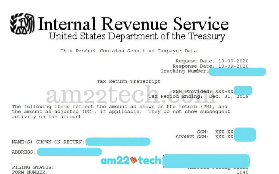 IRS return tax transcript sample