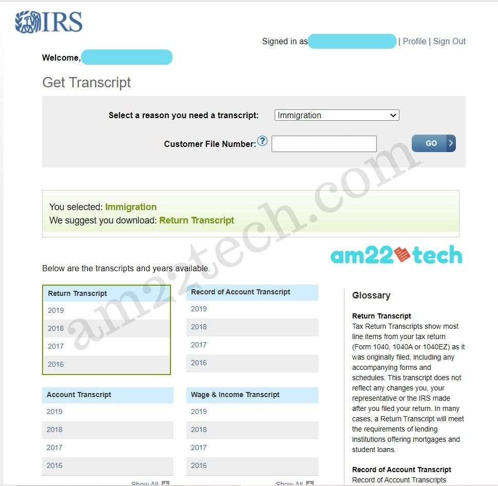 IRS tax transcript