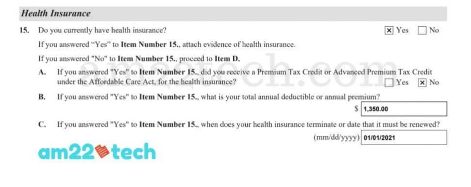 i-944 health insurance section