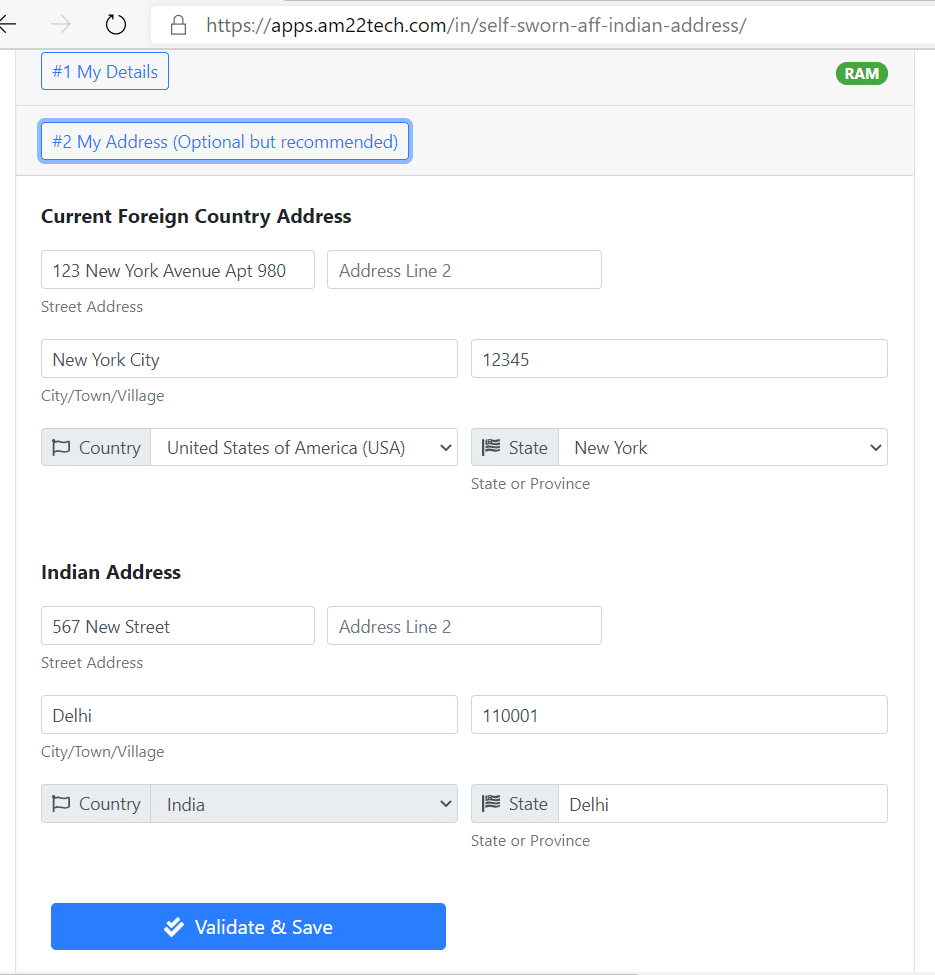 Enter your foreign and Indian address
