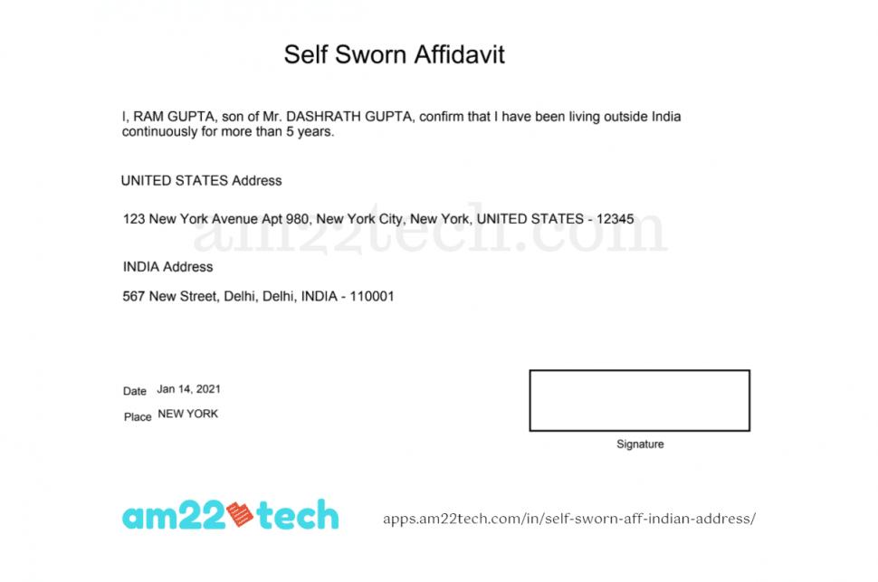 Sample self-sworn affidavit