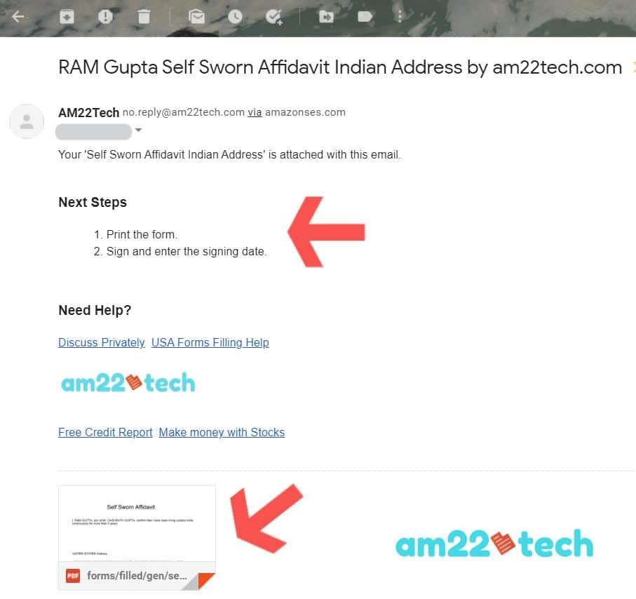Self Sworn Affidavit by am22tech email