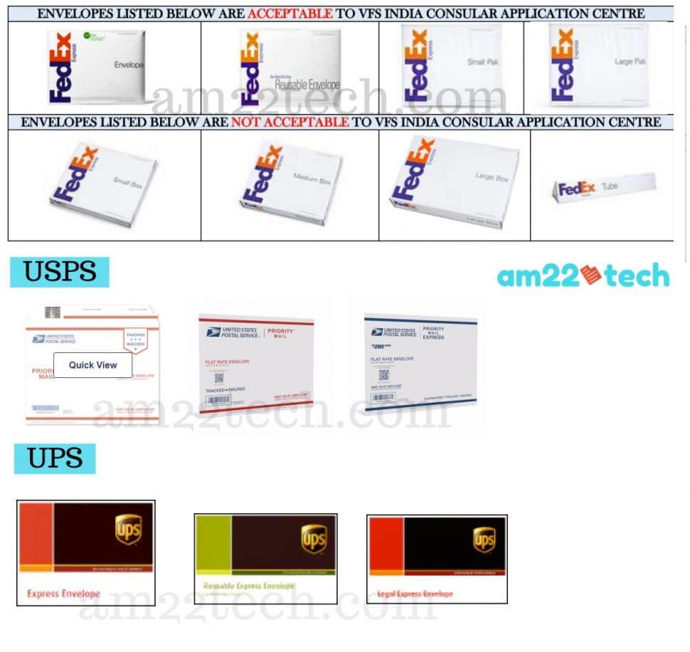 VFS Fedex Envelope Sample