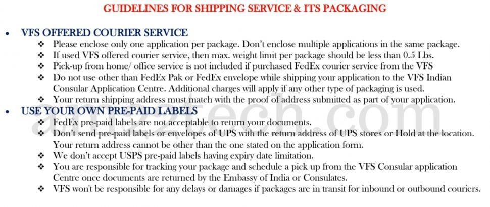 VFS passport renewal - shipping label instructions