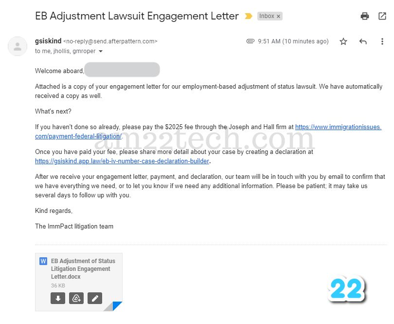 Engagement letter email
