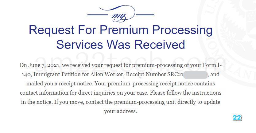 i140 USCIS premium processing update status