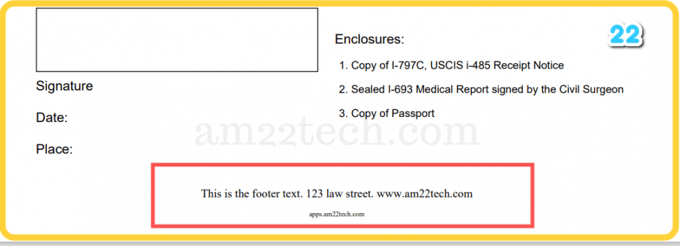 Footer information can be printed at the bottom of the page