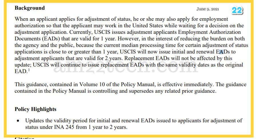 USCIS- i485 EAD for 2-years
